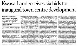 Kwasa Land receives six bids for inaugural town centre development - The Edge Financial Daily