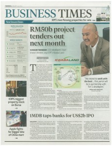 16.01.14 - Front page-RM50b project tenders out next month - Business Times