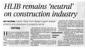 17.01.14 - HLIB remains neutral on construction industry - Business Times - RM9990